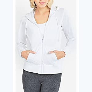 Uni Style Apparel Womens Cotton Terry Fabric Zip Up Hoodie Jacket (Small, White)