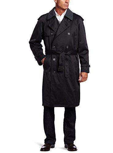 Hart Schaffner Marx Men's Burnett Trench Coat, Black, 40 Regular (Black Classic Trench Coat)