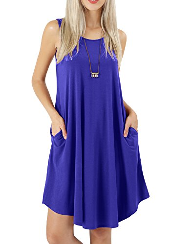 Larissa Dress - peassa Womens Casual Sleeveless Loose Plain Shift Tunic Pockets Sundress Blue S