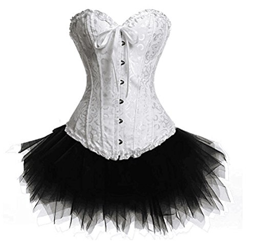 Lorembelle Gothic Lace up Corset Skirt Moulin Rouge Showgirl Clubwear Lingerie Costume Corset set (L /US 6, (Moulin Rouge Costumes For Women)