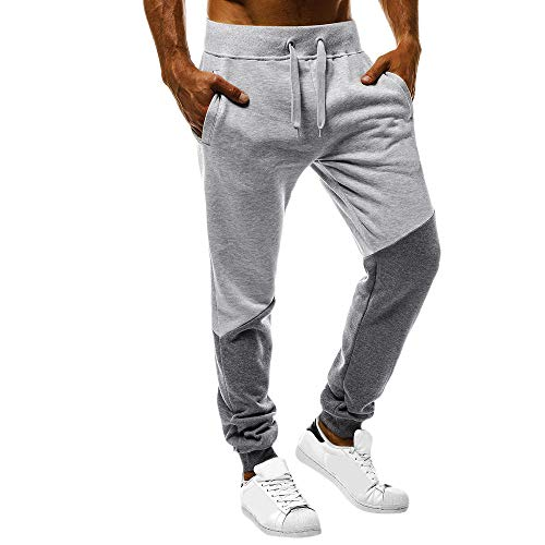 iFOMO Joggers Cotton Colorblock Patchwork Casual Drawstring Sweatpants Running Trouser Sport Pants for Men Grey-3 M