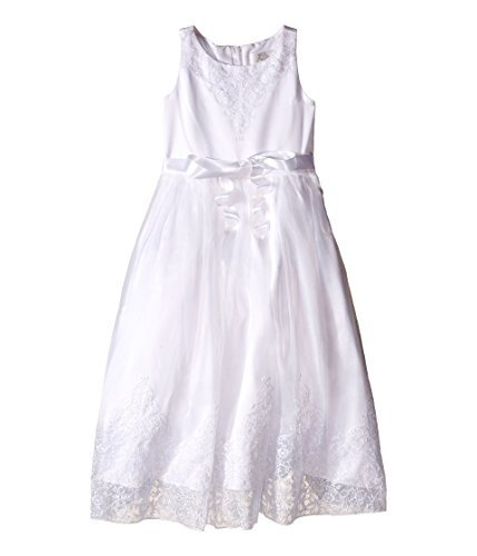 US Angels Girl's Embroidered Organza & Satin Sleeveless Lace Dress (Little Kids/Big Kids) White Dress - Embroidered Bodice A-line Satin