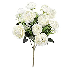 Flameer Artificial Open Silk Camellia Rose Flower Real Touch for Wedding Bouquet - White 11