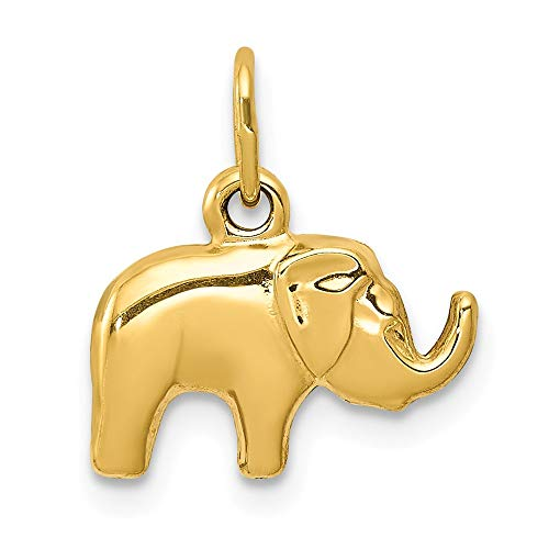 Jewel Tie 14K Yellow Gold Elephant Charm - (0.59 in x 0.51 in) ()