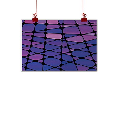 duommhome Abstract Print Art Oil Painting Contemporary Stained Glass Design with Graphic Drops Mosaic Vibrant Pattern Decorations Home Decor W28 xL20 Purple Pink ()