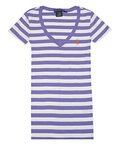 Ralph Lauren Sport Women V-neck Ribbed Striped Pony Logo T-shirt (M, Charter Purple/White)