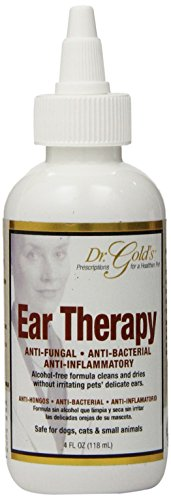 Dr. Gold's Ear Therapy - Medicated Formula Treats Bacterial, Fungal and Yeast Infections in Dogs and Cats - Gently Cleans, Disinfects and Deodorizes Ear Canal - Alcohol-Free (4 oz.) (Best Antibiotic For Yeast Infection)