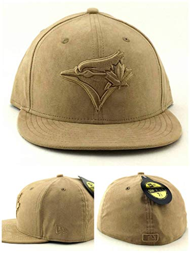 New Era Toronto Blue Jays 59Fifty Sueded Tan Beige Khaki Tonal Fitted Hat Cap 7 1/2