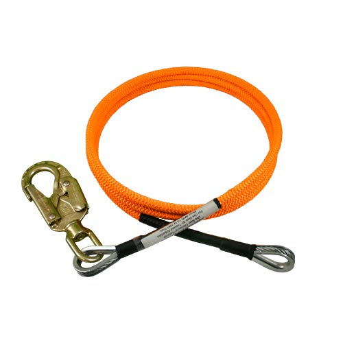 ProClimb Steel Wire Core Flip Line with Swivel Snap Hook (1/2 in) – Adjustable Rope Lanyard, Low Stretch, UV, Cut Resistant - for Fall Protection, Arborist, Tree Climbers (10 feet - Neon Orange)