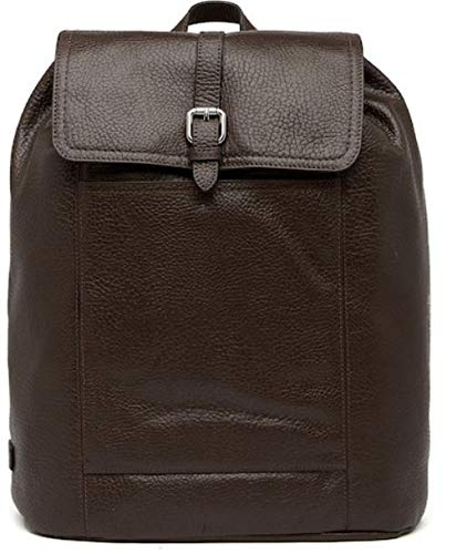 Cole Haan Mens Large Pebbled Leather Flap Laptop Backpack Java ()