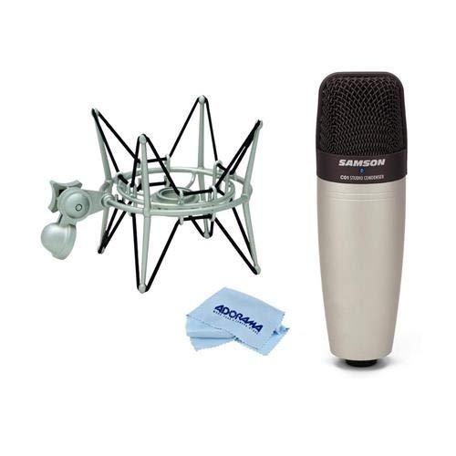 Samson C01 Condenser Microphone, 40-18000 Hz, 200 Ohms Impedance - With Samson SP04 Spider Shockmount for GM1U G Track Microphone, Microfiber Cloth
