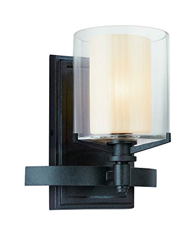 Arcadia One Light - Troy Lighting Arcadia 1-Light Vanity - French Iron Finish with Clear Outer and Ribbed Provence Inner Glass