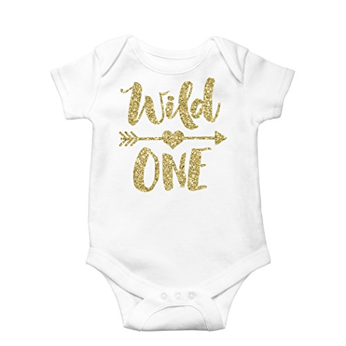 Wild One Gold Glitter Girls 1st Birthday Bodysuit First Birthday Outfit Girl]()