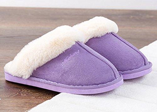 Indoor Winter Clog Purple Women Slippers Slipper Slipper Slip Fluffy Soft for On Womens Haloyo House Outdoor ZRSF6qvww