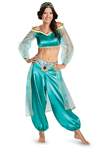 Disguise Women's Disney Aladdin Jasmine Sassy Prestige Costume, Green, Large 12-14
