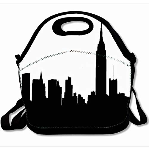 Ahawoso Reusable Insulated Lunch Tote Bag Nyc Skyline Silhouette Empire State 10X11 Zippered Neoprene School Picnic Gourmet Lunchbox ()
