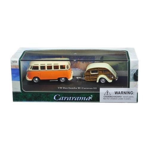 Volkswagen Bus Samba Orange with Caravan