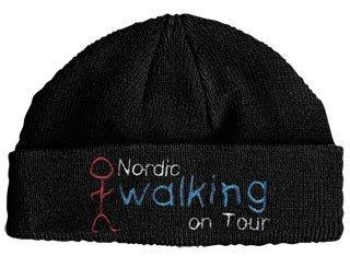 Strickmütze mit Einstickung -Nordic Walking on Tour- (51095)-schwarz- Wintermütze Mütze Skimütze