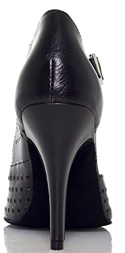 Salabobo Womens Ventilate Latin D'orsay Mid Heel Leather Professional Dance Shoes Black g4s9TNV