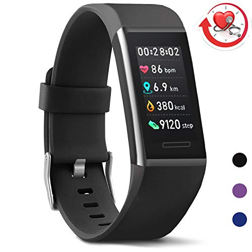 MorePro X-Core Fitness Tracker HR, Waterproof Color Screen Activity Tracker with Heart Rate Blood Pressure Monitor, Smart Wristband Pedometer Watch with Step Calories Counter, Black