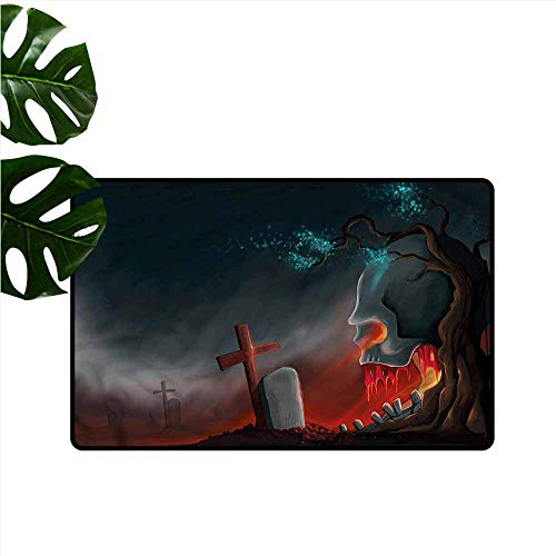 DUCKIL Welcome Door mat Halloween Graveyard Cemetery Tree Easy to Clean W20 xL31]()
