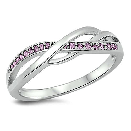 - Pink CZ Criss Cross Celtic Knot Ring New .925 Sterling Silver Band Size 4