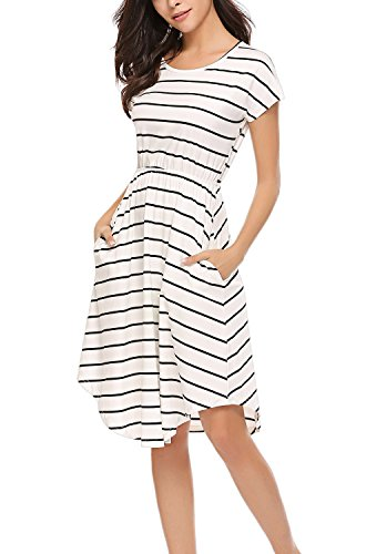 Women's Summer High Low Dress Versatile Swing Loose Flared Midi Dress Ivory,S