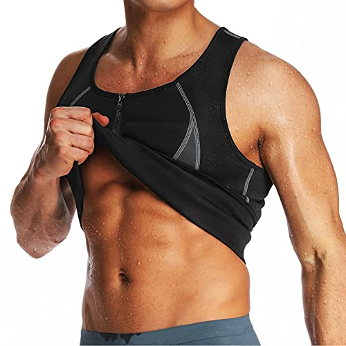 Men Sauna Vest Body Shaper Waist Trainer with Zipper Back Support Hot Belly Ab Chest Fat Burn Tank Top Workout Gym Faja
