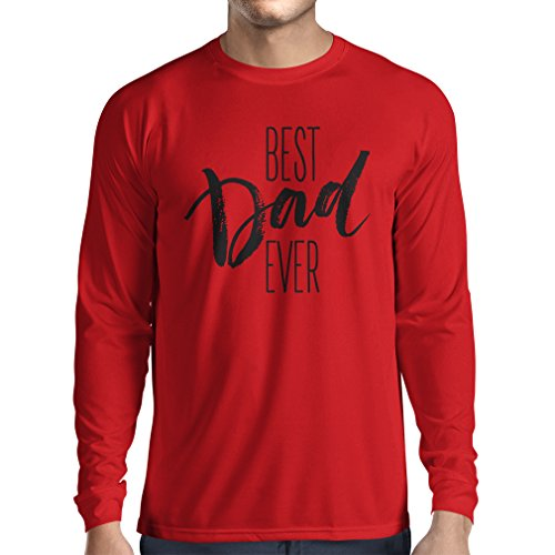 Long Sleeve t Shirt Men Best Dad Ever Happy Father's Day or Birthday Husband Gift Ideas (XX-Large Red Multi Color)