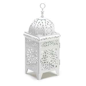 Gifts & Decor White Scrollwork Candleholder Lantern