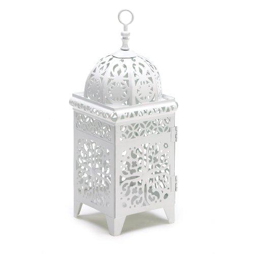 - Gifts & Decor White Scrollwork Candleholder Lantern