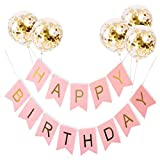 Provone Happy Birthday Banner Kit Rose Gold Birthday Banner Golden Aluminum Film Confetti Balloons Happy Birthday Party Decorations for Kids Girls (Pink)