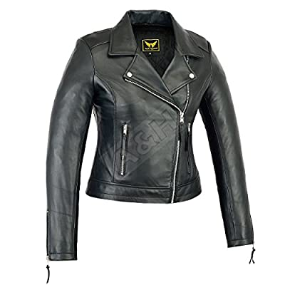 A&H Apparel Womens Genuine Sheep Leather Durable Incredible Soft Leather Motorcycle and Casual Jacket Black at Women's Coats Shop