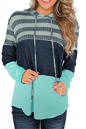 NEYOUQE 여자 색깔 구획 줄무늬 후드 풀오버 | 카디건 스웨트 셔츠 정상