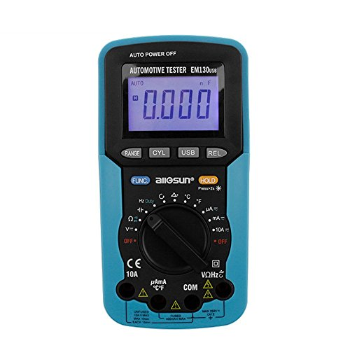 ALLOSUN Handheld Auto Range Automotive Multimeter/Digital Multimeter AC DC Volt Meter Dwell Angle Tester Tool with USB DMM