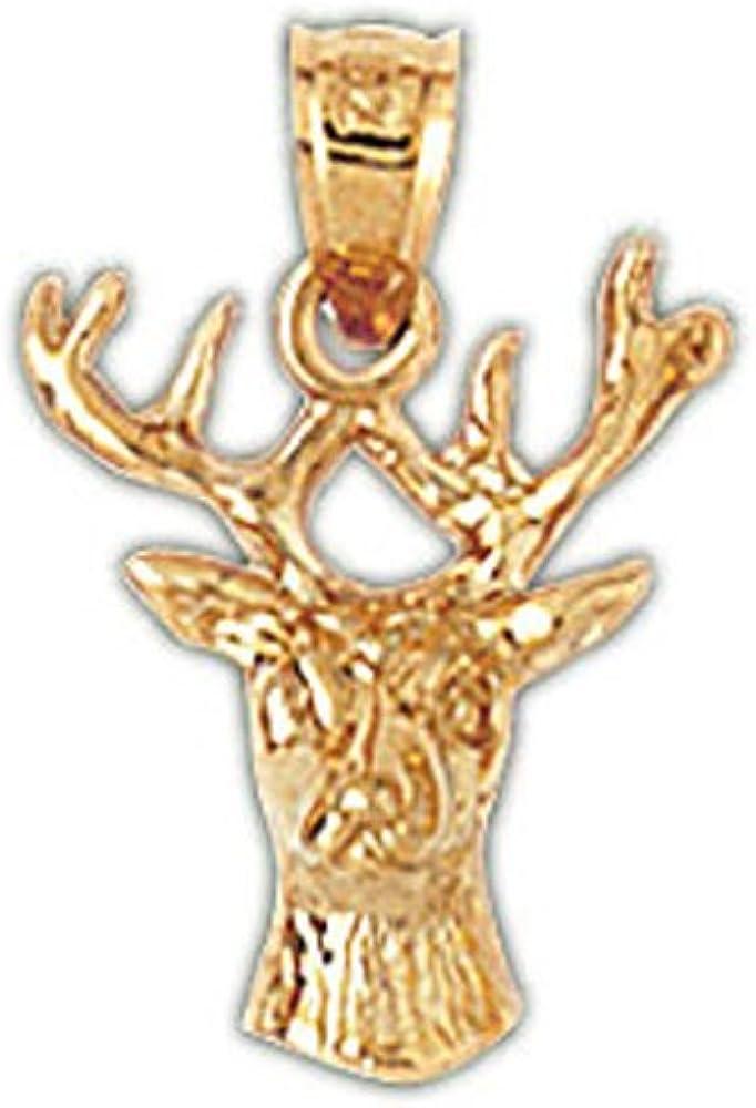 14k Yellow Gold Deer Pendant