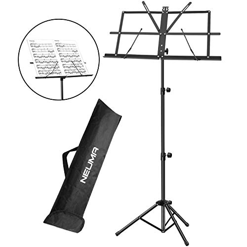 NEUMA Sheet Music Stand Holder/Portable Folding Music Stand Super Sturdy Adjustable Height Tripod Base Metal Music Stand, Lightweight & Compact for Storage or Travel with Carrying Bag, Black (Violin Stand Case)