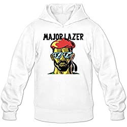 MARY Men's Major Lazer Lean On Cartoon Tour Hooded Sweatshirt White
