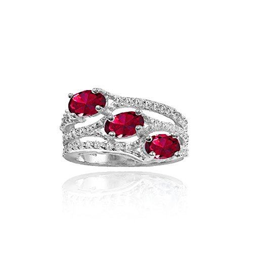 Sterling Silver Created Ruby and White Topaz Oval Three Stone Ring, Size 7 (Ruby Ring Ice)