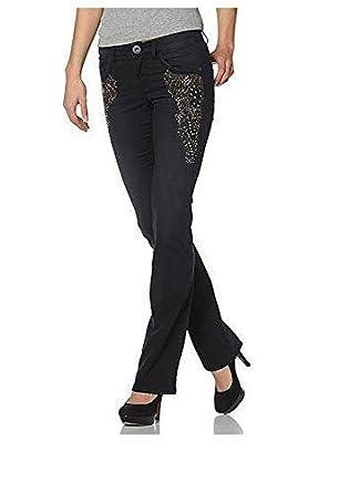 neu billig echte Schuhe Verkauf Einzelhändler Jeans mit Verzierungen Damen Langgröße von Arizona - Black ...