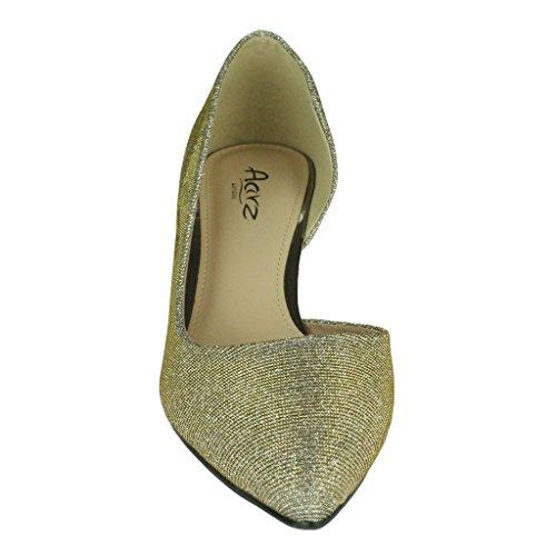 Mujer Señoras Trémulo Tacón de gatito Corte lateral Puntiagudo Noche Boda Fiesta Nupcial Paseo Sandalias Zapatos Talla Estaño