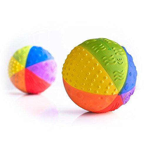 Sensory Ball Regenbogen - Bio Motorikspielzeug - Gummiball aus Naturkautschuk - Frei von chemischen Zusatzstoffen: 0% PVC, BPA, Phthalate