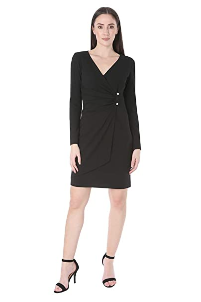 ce39960d4c38 Bebe Women's Long Sleeve Gathered Dress with a Pearl Bar Detail Trim:  Amazon.co.uk: Clothing