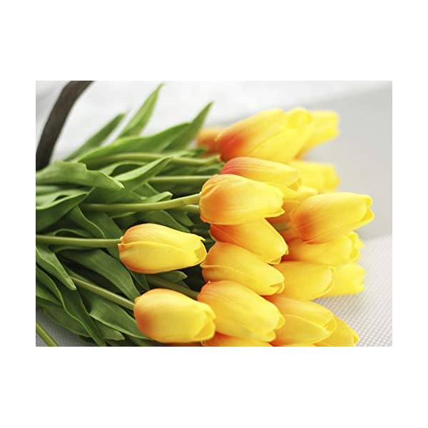 JOEJISN 30pcs Artificial Tulips Flowers Real Touch Orange Tulips Fake Holland PU Tulip Bouquet Latex Flowers for Wedding Party Office Home Kitchen Decoration (Orange)