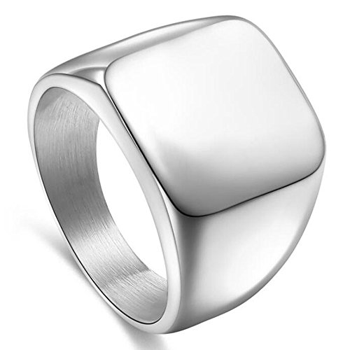 enhong Signet Biker Rings Solid Polished Stainless Steel Ring for Men Size 7-15,Silver Color in Size 11
