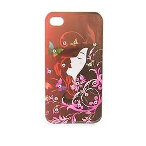 Conseguir Flying Hair Floral estuche rígido Girl para iPhone 4/4S