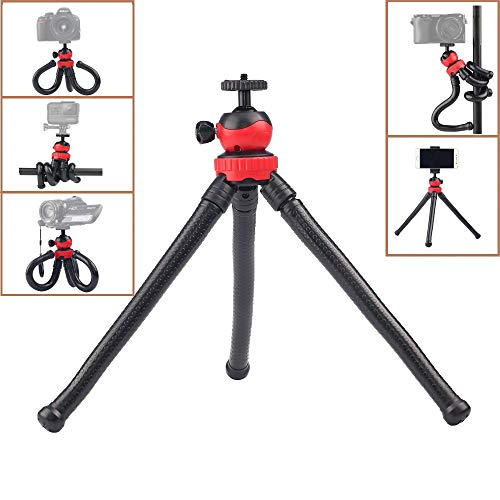 (ADAI Flexible Tripod for Phone, Bendable Legs Tripod with Ball Head + Wireless Remote + Phone Clip for iPhone, Android Phone, Samsung, Cell Phone, DSLR Camera and Gopro )