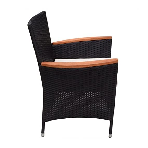 Festnight 9 Piece Outdoor Patio Rattan Wicker Furniture Dining Table Chair Set Black - The dining table is made of high-quality acacia wood, a tropical hardwood, which is weather-resistant and highly durable. Therefore, it is extremely suitable for outdoor use. The dining chairs feature acacia wood armrests. Made of waterproof PE rattan, the dining chairs are lightweight and easy to clean. The powder-coated steel frames and the aluminum feet make the chairs strong and sturdy. - patio-furniture, dining-sets-patio-funiture, patio - 41zca4VzRlL. SS570  -