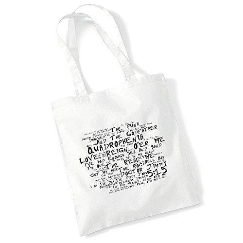 100% Baumwolltasche - THE WHO - Quadrophenia - Noir Paranoiac - Weiß 42 x 38 cm Tragetasche Musik Song Lyrisch Album Kunstdruck Plakat Wiederverwendbare Tote Strand Festival Einkaufend Tasche für Lebe
