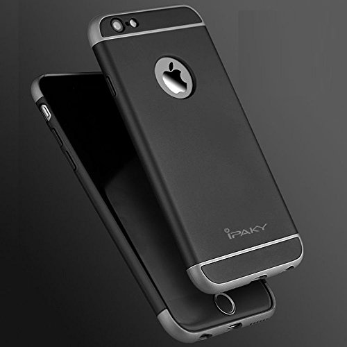 Tingtong iPaky Luxury Hybrid Ultra Slim Protective Case Hard PC Back Case for Apple 4.7 Inch iPhone 6 /6S  Black